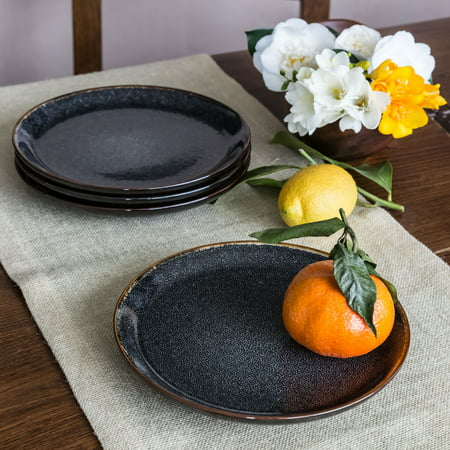 Better Homes & Gardens Burns Salad Plates, set of 4, Black Salad Plate Set