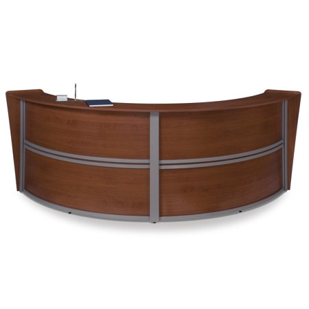 OFM Marque Series Model 55292 Double Unit Reception Desk Station, Cherry with Silver Frame
