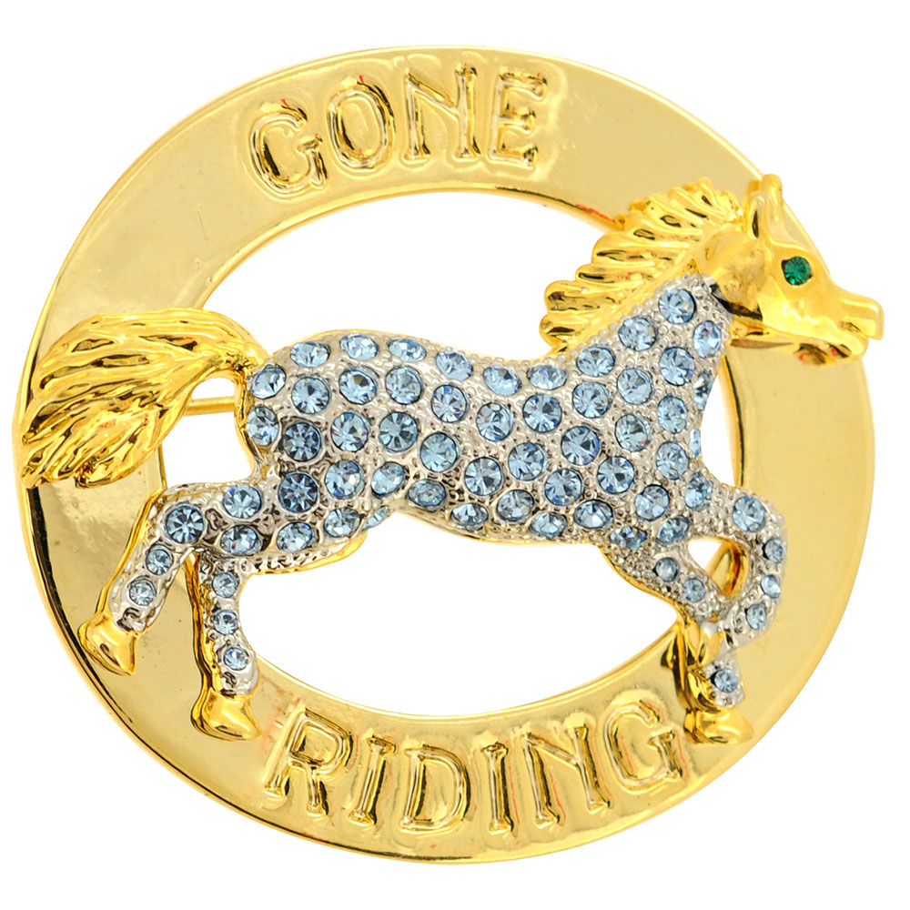 Gone Riding Light Sapphire Crystal Horse Swarovski Crystal Pin Brooch by