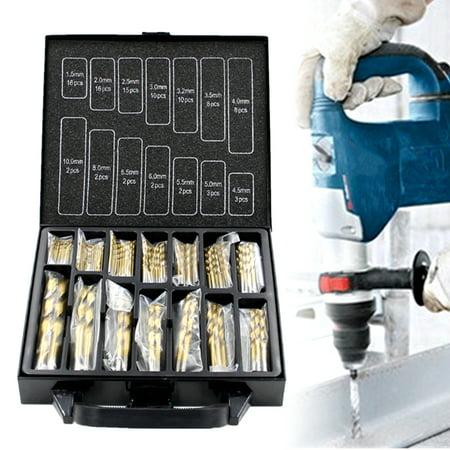 99PCS 1.5mm -10mm HSS Titanium Coated Twist Drill Bits Set Woodworking Tool In Metal Case Carpenter Masonry Hobby