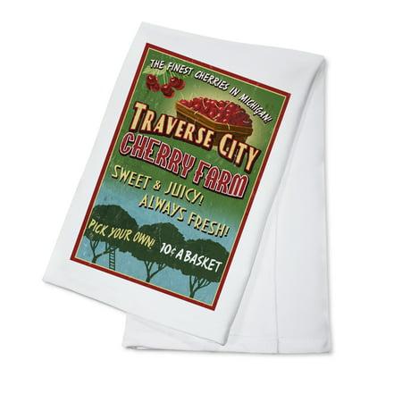 Halloween Store Traverse City (Traverse City, Michigan - Cherry Farm Vintage Sign - Lantern Press Artwork (100% Cotton Kitchen)