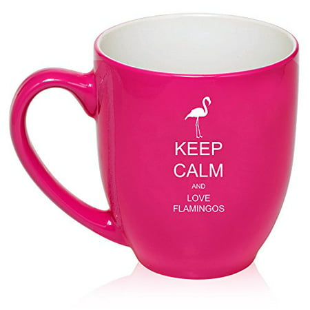 16 oz Hot Pink Large Bistro Mug Ceramic Coffee Tea Glass Cup Keep Calm and Love Flamingos