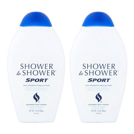 (2 Pack) Shower to Shower Sport Absorbent Body Powder, 13 - Alexandra Body Powder