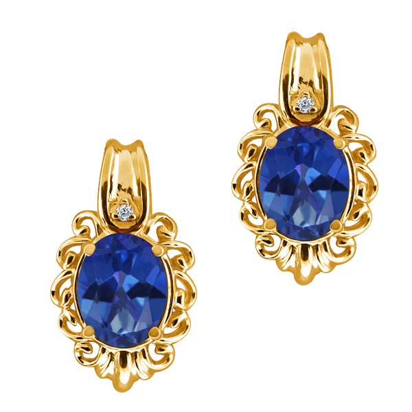 3.22 Ct Oval Royal Blue Mystic Topaz and Diamond 14k Yellow Gold Earrings