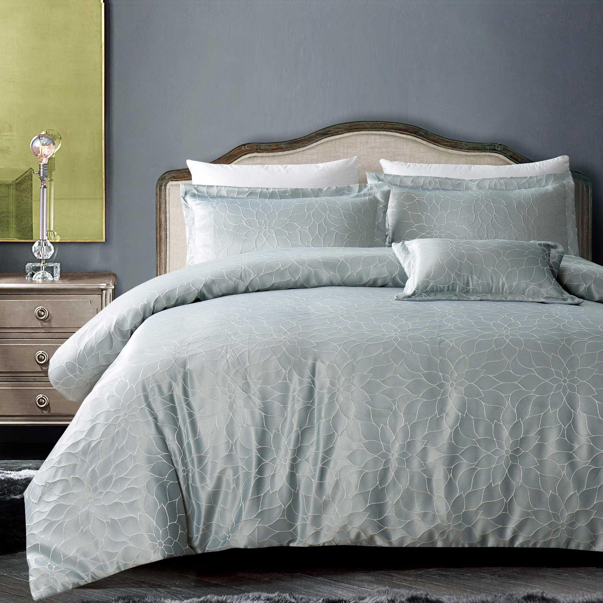 California Design Den Hotel Royal Bloom Down Alternative Comforter Set Silver Gray, King 4 Piece