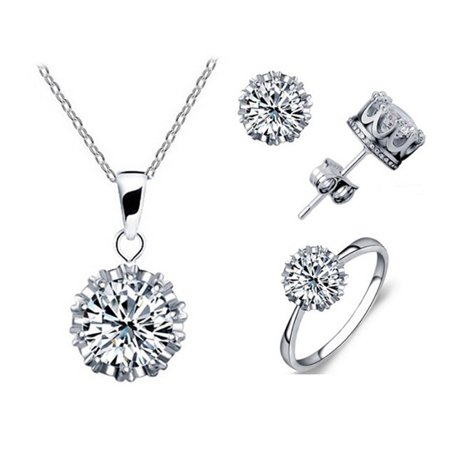 - Tiara Set Of 4 Necklace Pendant Ring And Stud Earrings In Silver Plated Crown Setting