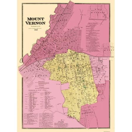 Old City Map - Mount Vernon New York Landowner - 1868 - 23 x 31