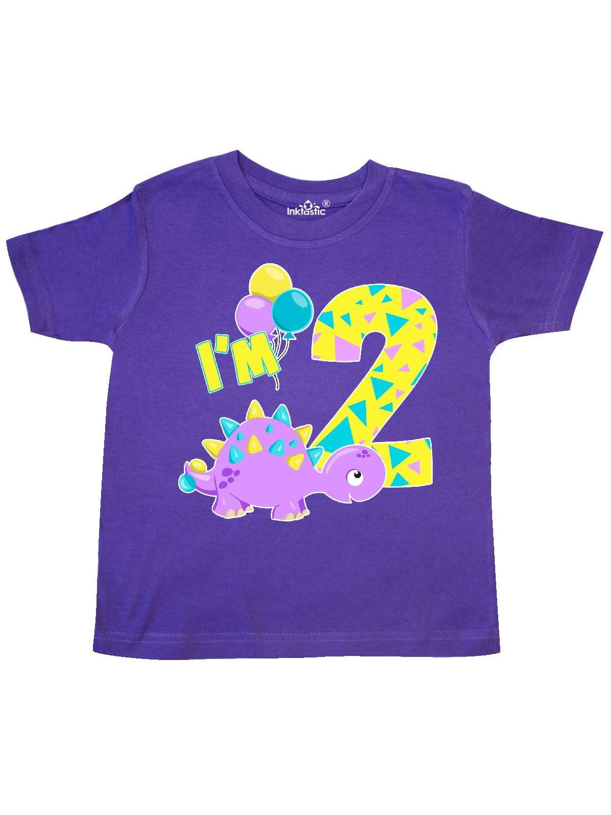 Happy Dinosaur Second Birthday-purple Toddler T-Shirt