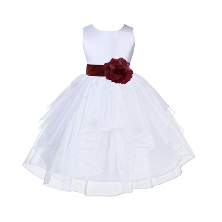 Ekidsbridal White Burgundy Shimmering Organza Christmas Party Bridesmaid Recital Easter Holiday Wedding Pageant Communion Princess Birthday Clothing Baptism 4613S size 6-9 month Flower Girl Dress