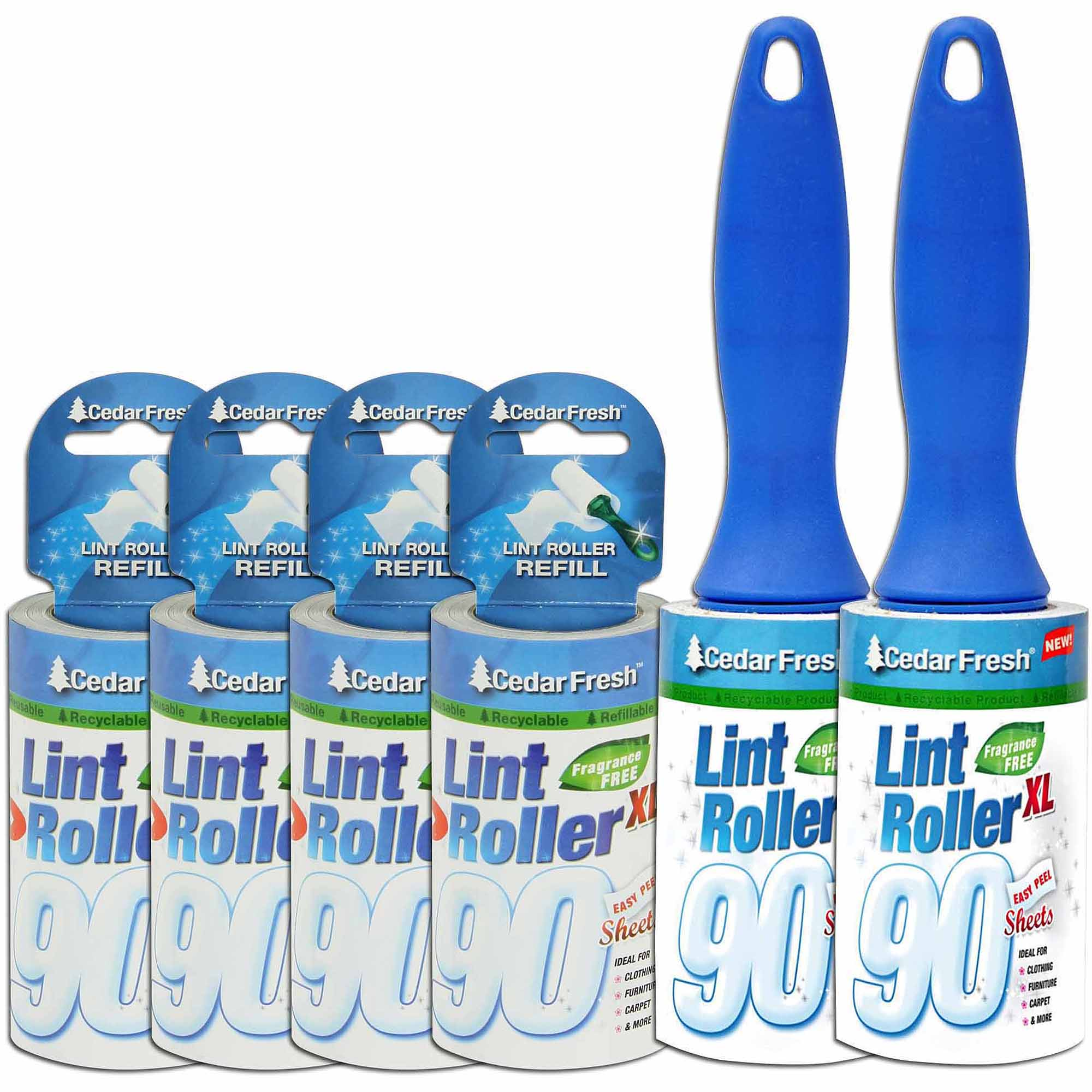 Household Essentials 2pk 90 Sheet Lint Rollers with 4 Bonus Refills