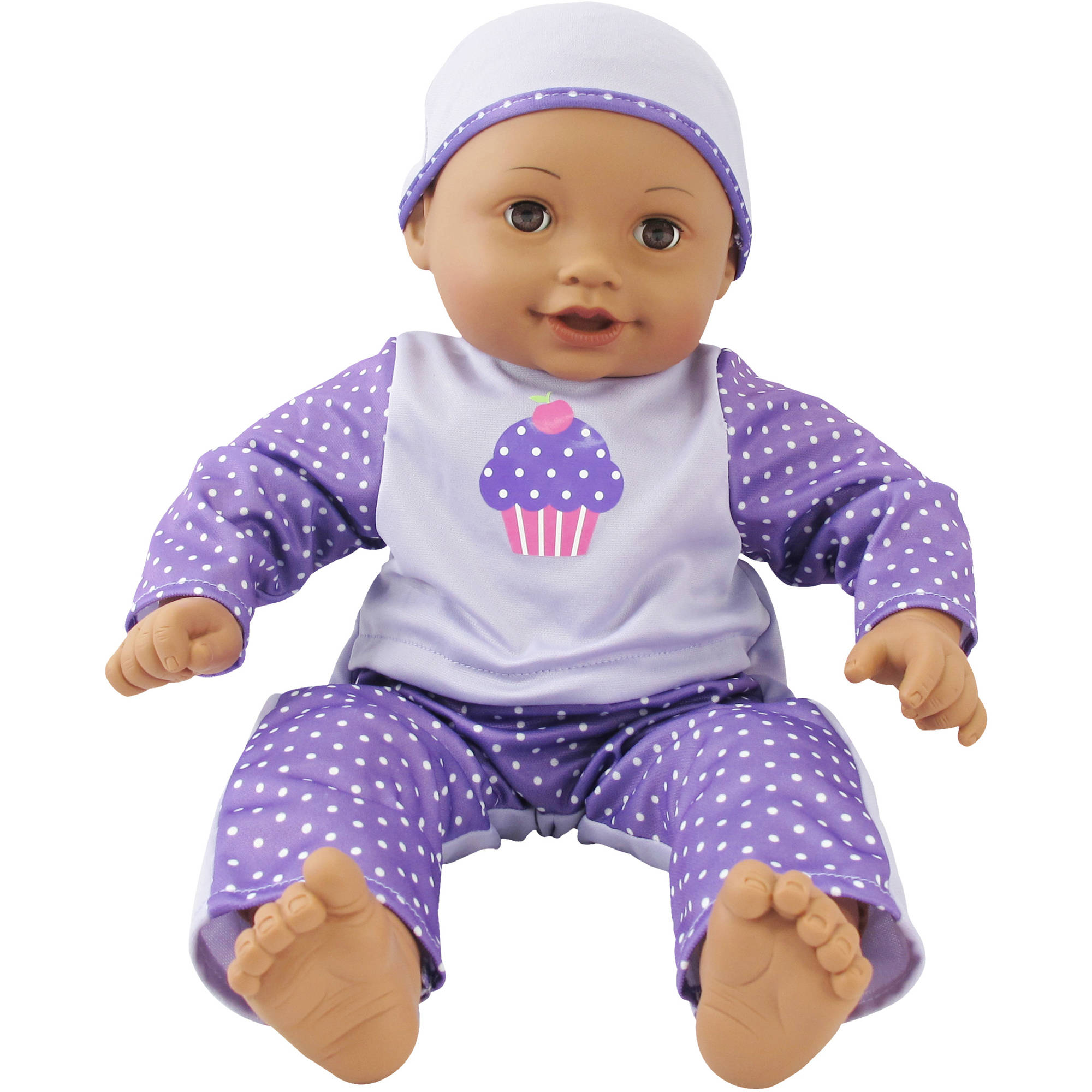 My Sweet Love Soft Baby Doll, African American with Purple Outfit