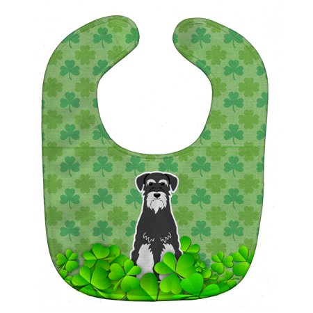 Standard Schnauzer Salt and Pepper Shamrocks Baby Bib BB6174BIB