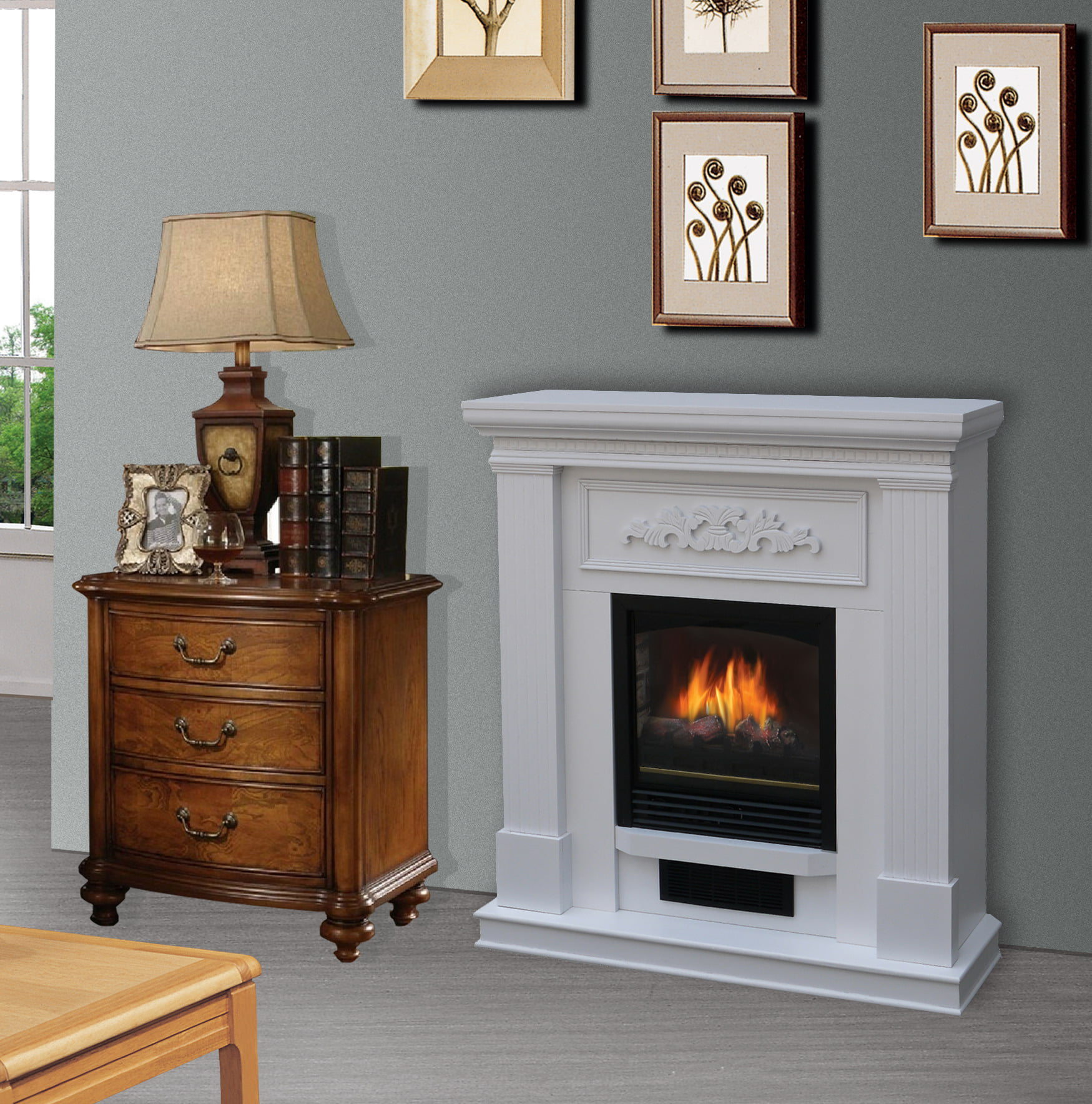 Bold Flame 38 inch Wall Corner Electric Fireplace in White by BOLD FLAME