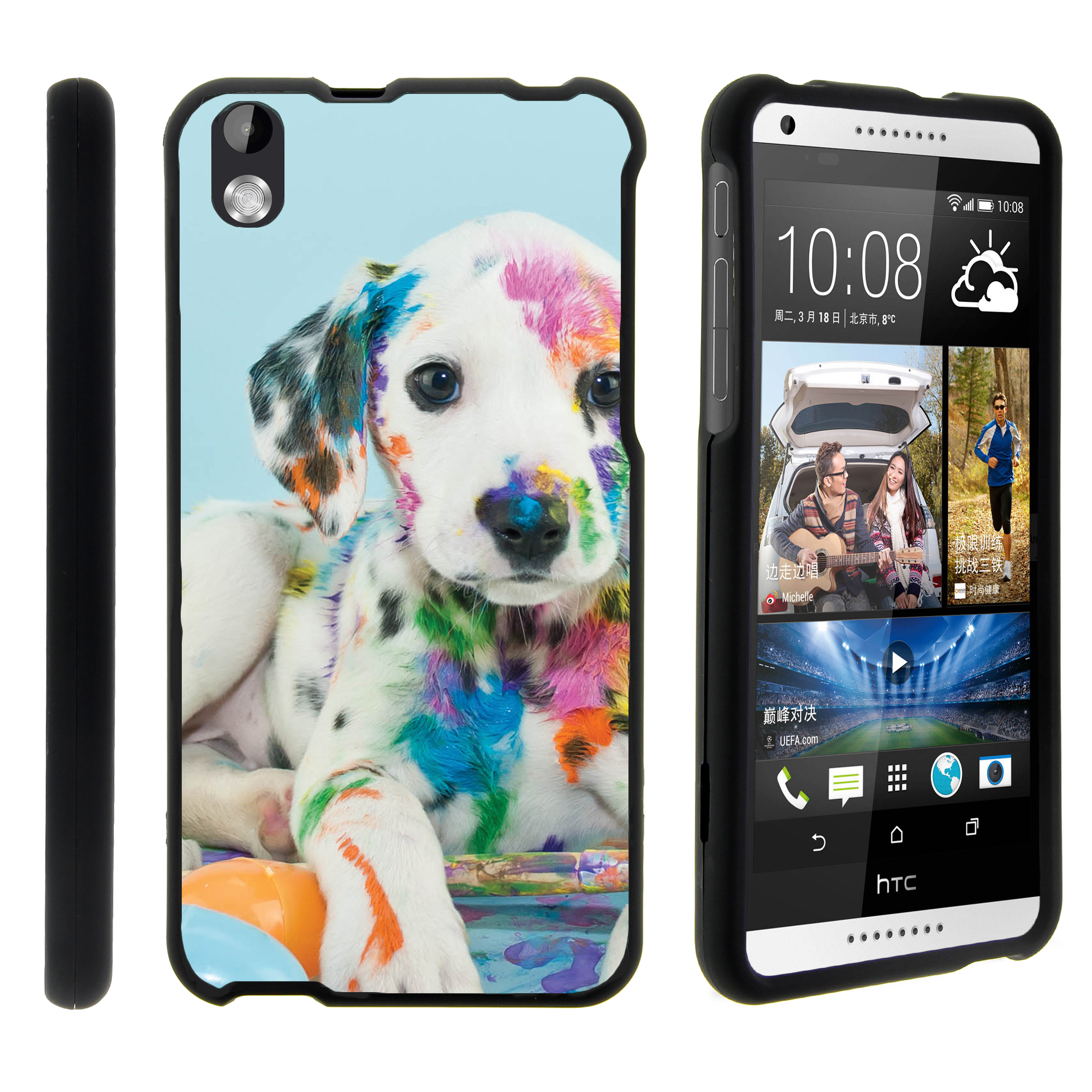 HTC Desire 816, [SNAP SHELL][Matte Black] 2 Piece Snap On Rubberized Hard Plastic Cell Phone Cover with Cool Designs - Colorful Puppy