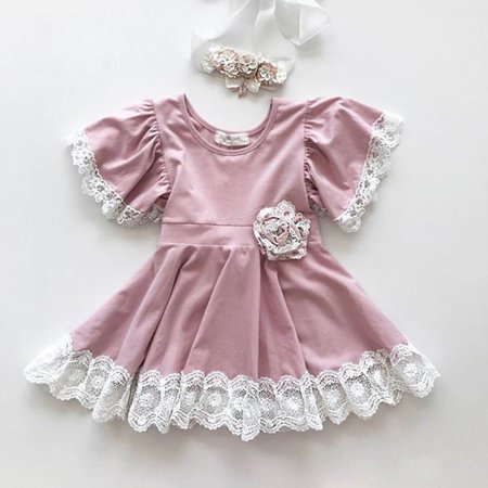 Fashion Casual Kids Baby Girl Dress Lace Floral Party Dress Pageant Wedding Bridesmaid Dresses Formal Gown