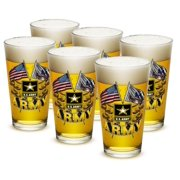 US Army 16 oz. Pint Glass Army Double Flag US Army (Case of 12) by Erazor Bits