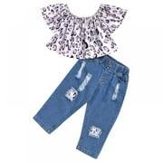 Baby Girls Casual Short Sleeve Cartoon Leopard Printed Cotton Tops + Denim Pants Set