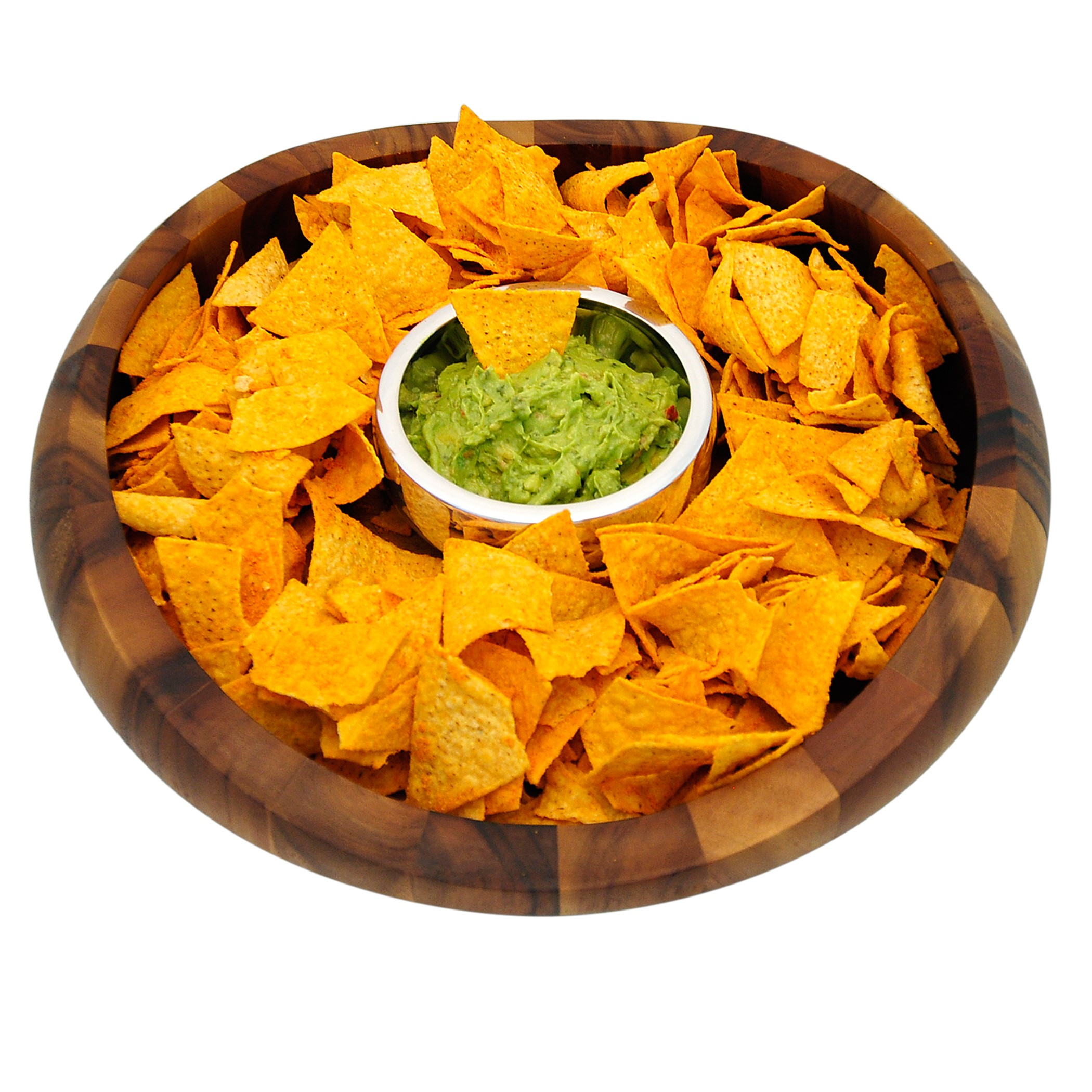 Nambe Butterfly Wood Chips and Dip Server