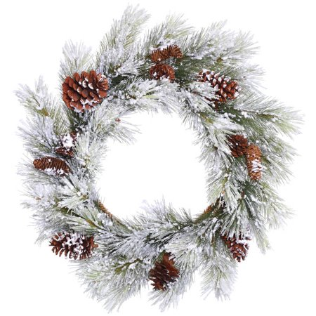 "Vickerman 28"" Flocked Ashville Pine Artificial Christmas Wreath, Unlit"