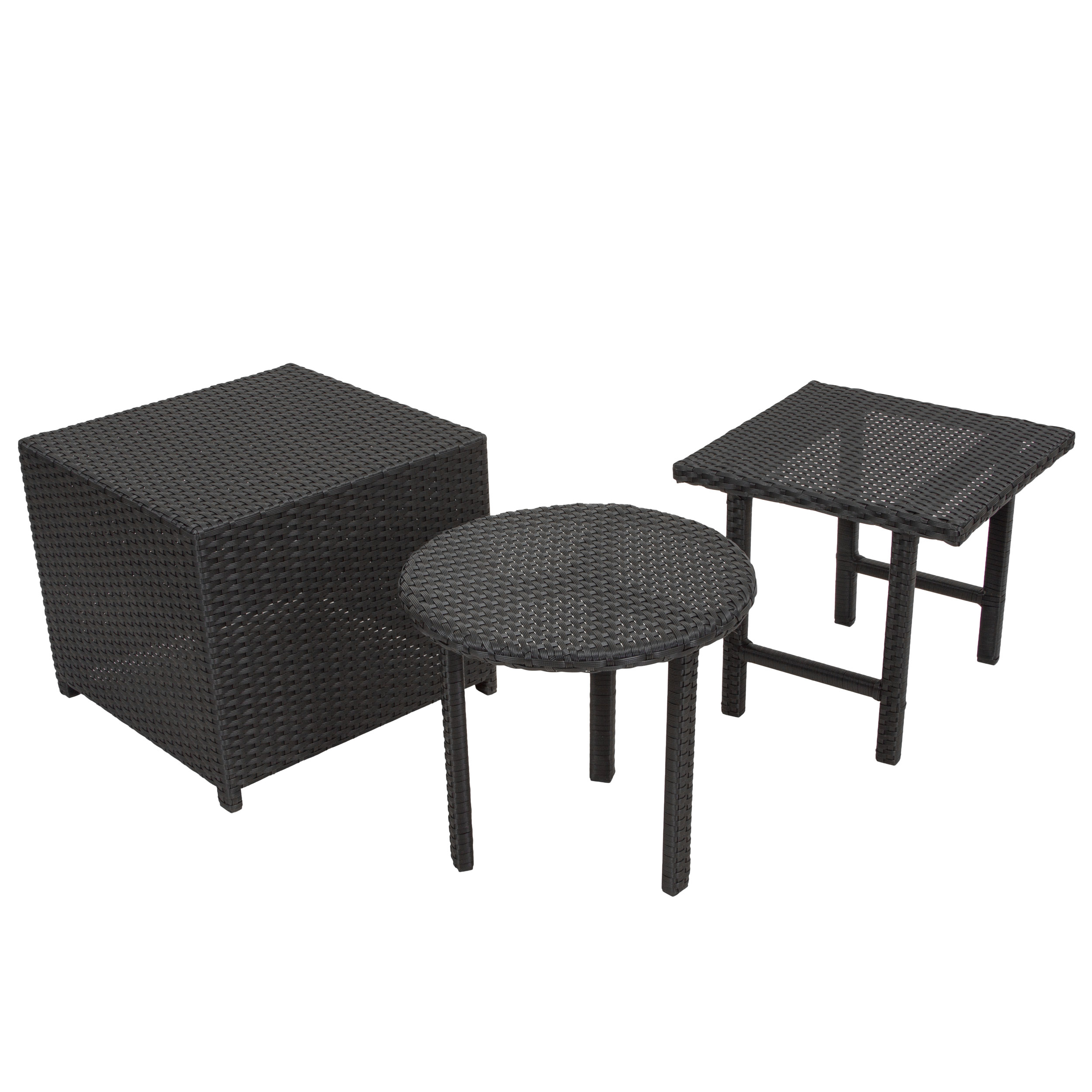 Raleigh Outdoor Wicker Accent Tables, Set Of 3, Multiple Colors