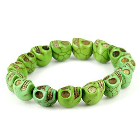 Fashion Jewelry Green Created-Turquoise Skull Stretch Bracelet - women men- Sk008 - Bracelet Light