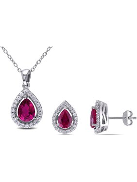 Tangelo 4-7/8 Carat T.G.W. Created Ruby and Created White Sapphire Sterling Silver Halo Pendant and Earrings Set
