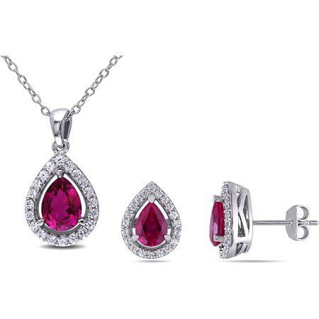 4-7/8 Carat T.G.W. Created Ruby and Created White Sapphire Sterling Silver Halo Pendant and Earrings Set, 18