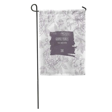 Rouge Brush - KDAGR Beige Peony Peonies Graphic Flowers Ink Contour Pattern Brush Drawn Rough Artistic Edges Gray Dark Garden Flag Decorative Flag House Banner 12x18 inch