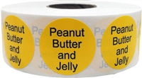 Yellow with black peanut butter and jelly circle dot adhesive stickers 1 inch round labels 500 total stickers