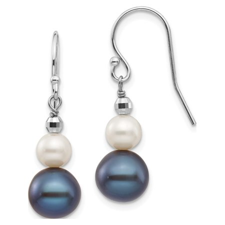 14k White Gold White Fresh Water Cultured Pearl W/ Mirror Bead (9x29mm) Earrings - image 3 of 3