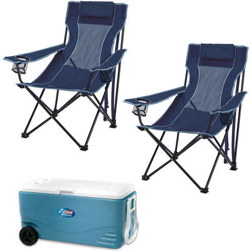 Coleman 100-Qt. Wheeled Cooler with 2 Lounge Chairs