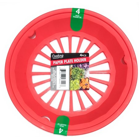 """Tomato Red 10-3/8"""" Plastic Paper Plate Holders, Set of 4"""