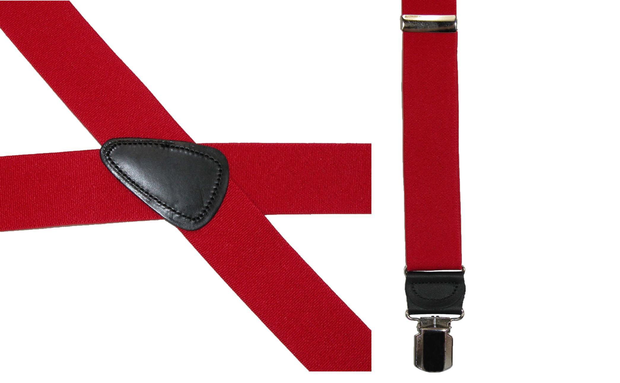 Black CTM/® Mens Elastic Anti Slip Pin Clip Suspenders with Leather Drop Tabs