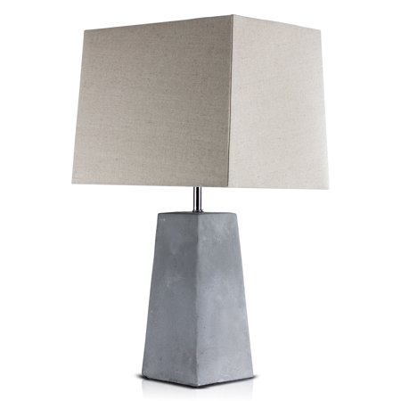 "23"" Concrete Industrial Table Lamp with Canvas Shade (Includes CFL Light Bulb) Gray - American Art Decor"