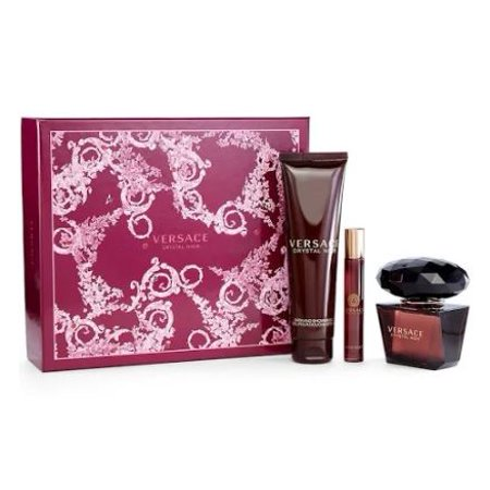 Versace Crystal Noir Perfume Gift Set for Women - 3 Pc: 3.0oz EDT Spray, 5.0oz Bath and Shower Gel (Versace Sonnenbrille Gelb)
