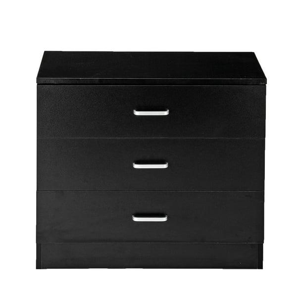 Wood Simple 3 Drawer Dresser Black