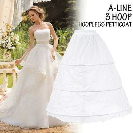 3 Hoops Petticoat Bridal Crinoline A line Underskirt Slip Women Wedding Dress White (Slip For Wedding Dress)