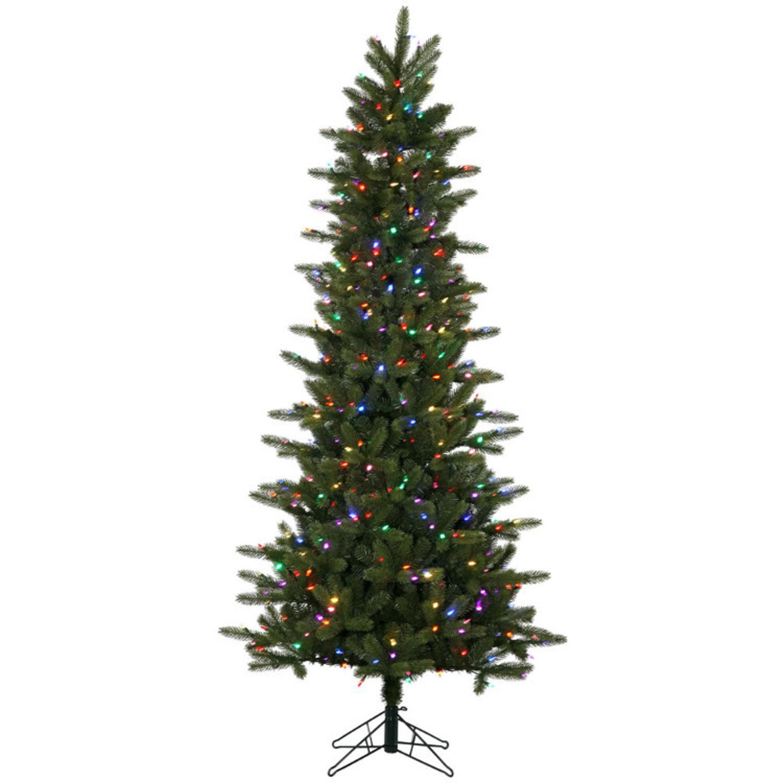 Multi Color Pre Lit Christmas Trees: 6.5' Pre-Lit Kennedy Fir Slim Artificial Christmas Tree