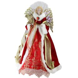 "16"""" Lighted B/O Fiber Optic Angel in Garnet Red Coat with Harp Christmas Tree Topper"