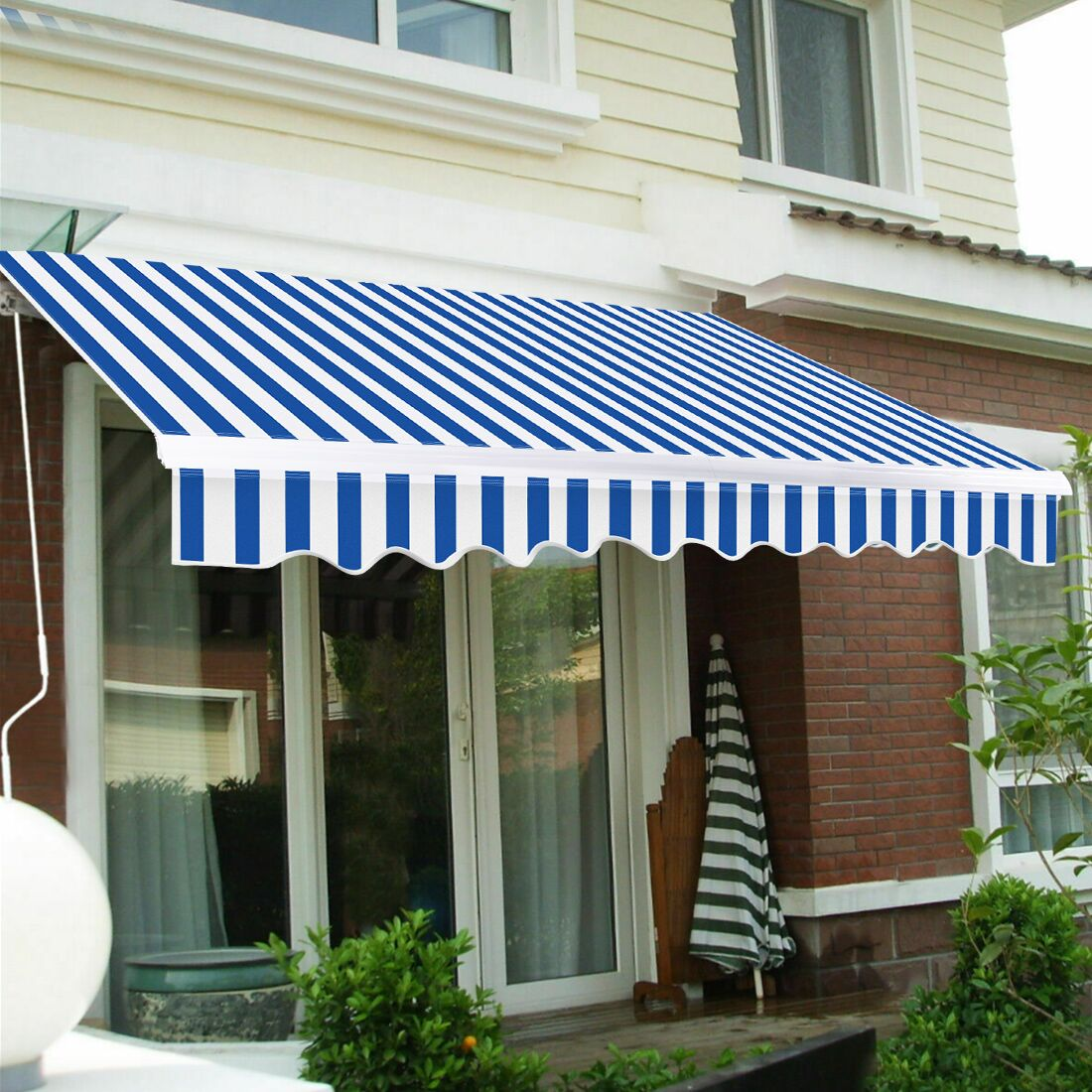Outdoor Manual Retractable Patio Awning 8ft x 6.5ft Blue ...
