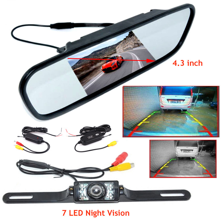 "4.3"" LCD Monitor Car Reverse Rear View Mirror Camera + AV Cable Video Transmitter Receiver"
