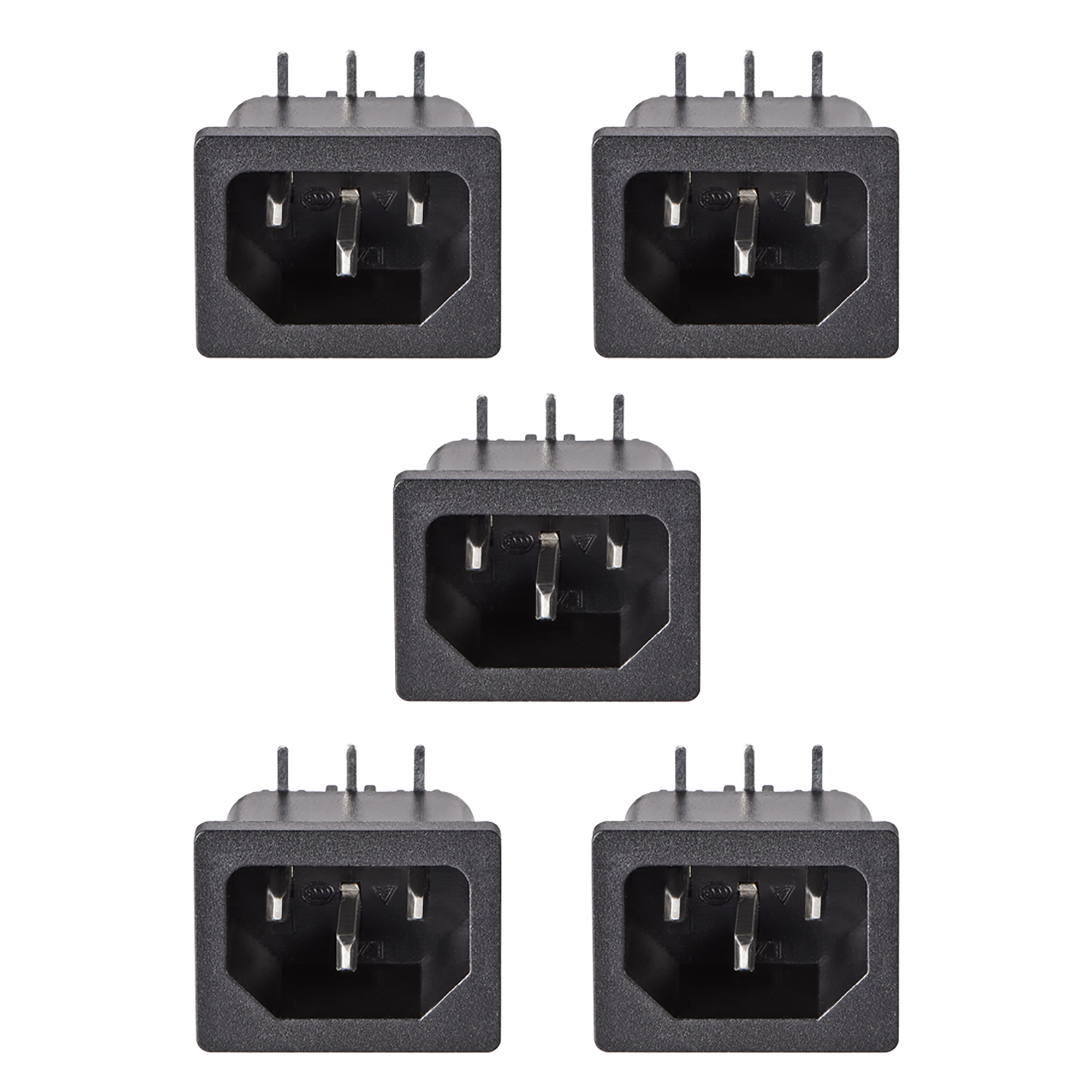 uxcell C14 Panel Mount Plug Adapter AC 250V 10A 3 Pins IEC Inlet Module Plug Power Connector Socket Right Angle Pack of 5