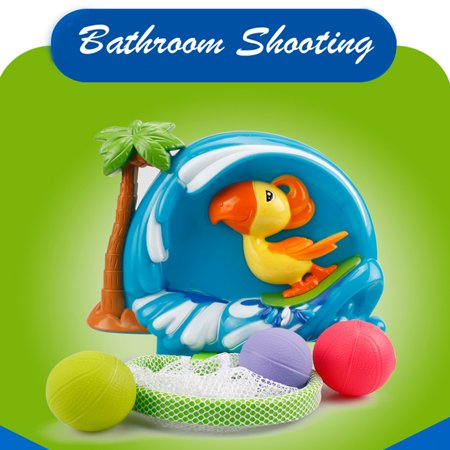 Bathtub Basketball Hoop And 3 Ball Children's Baby Shower Toy Gift Set ()