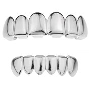 Grillz Set Silver Tone Upper Top And Bottom Lower Plain Teeth Hip Hop Grills