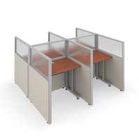 """OFM RiZe Series 47"""" x 37"""" 4-Unit Privacy Station Panel System with Translucent Top, 2 x 2 Configuration, Beige with Cherry Desk"""