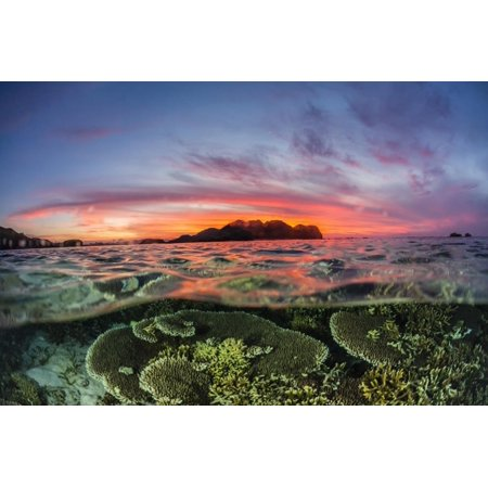 Half above and half below view of the Komodo Diving Resort at sunset, Sebayur Island, Indonesia Print Wall Art By Michael