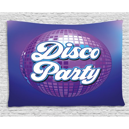 70s Party Decorations Tapestry, Retro Lettering on Disco Ball Night Club Theme Dance and Music, Wall Hanging for Bedroom Living Room Dorm Decor, 60W X 40L Inches, Purple Blue White, by Ambesonne for $<!---->