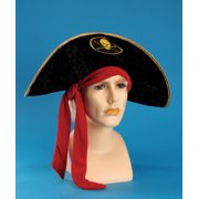 Star Power Adult Pirate Red Bandana Costume Hat, Black, One Size