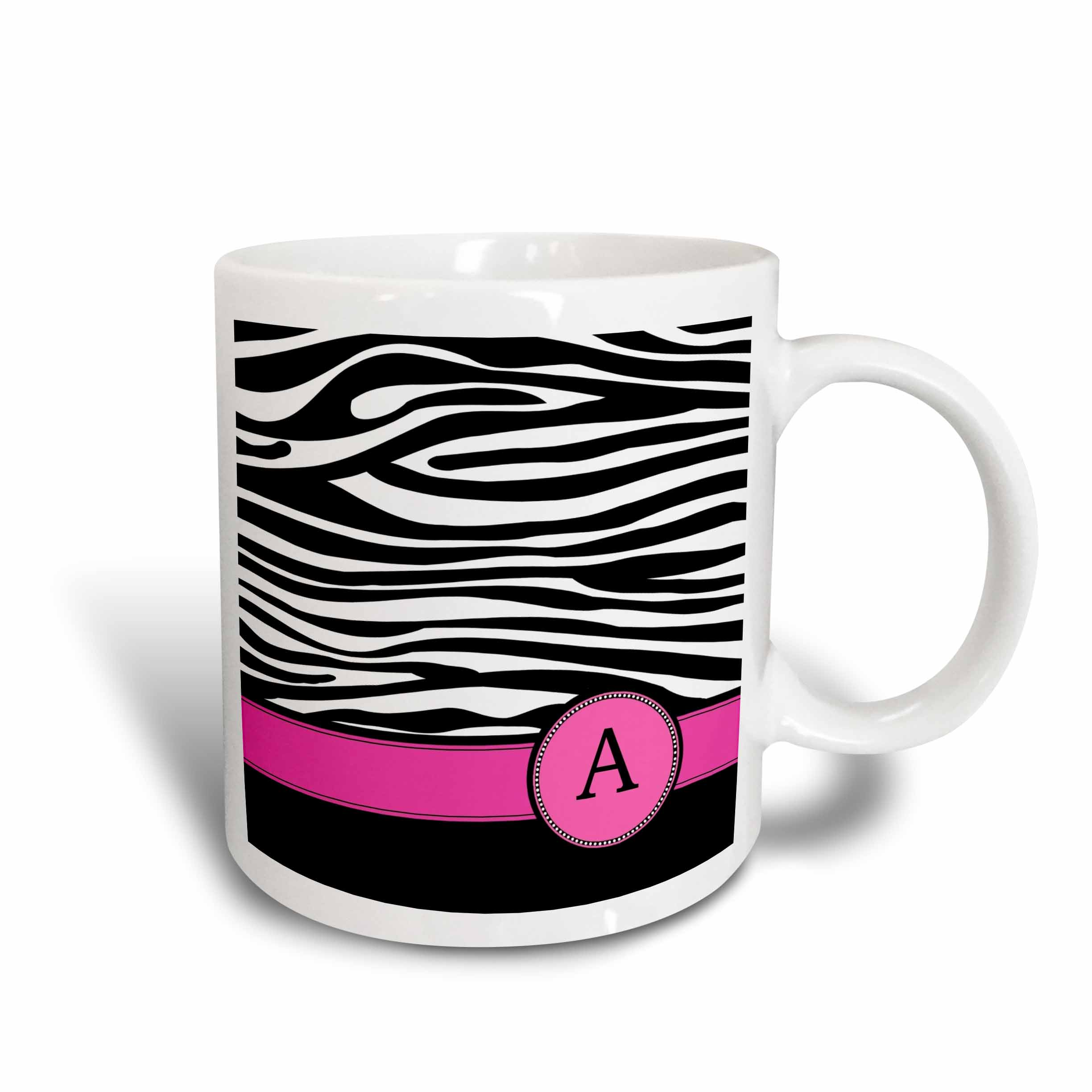3dRose Letter A monogrammed on black and white zebra stripes animal print with hot pink personal initial, Ceramic Mug, 11-ounce