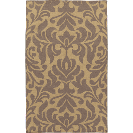 5' x 8' Floral Brise-Soleil Mocha and Chocolate Brown Hand Woven Wool Area Throw (Wool Hand Woven Chocolate)